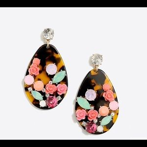 Tortoise rose garden statement earrings